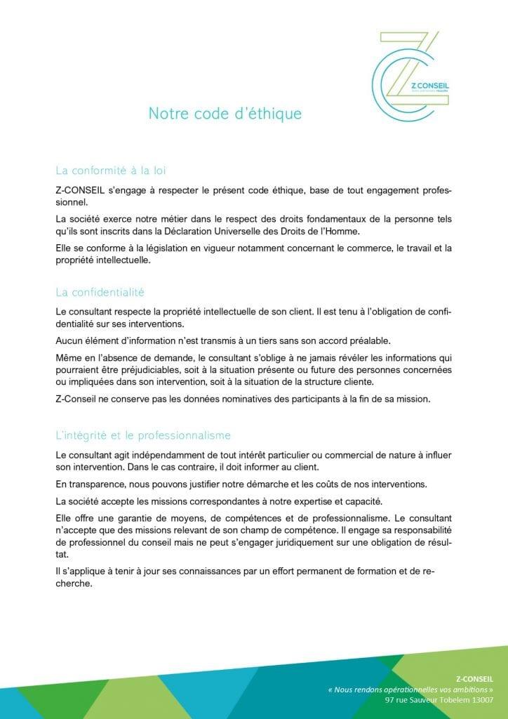 Code éthique Z-Conseil
